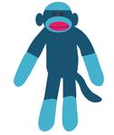A blue sock monkey