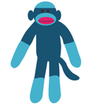 A blue sock monkey