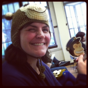 Woman wearing monkey hat